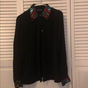 Vintage Karen Scott button blouse beaded sequins